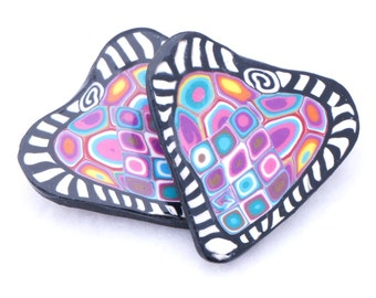 Polymer Clay Brooch - Zentangle Jewelry - Heart Brooch - Handmade Polymer Clay Jewelry - Polymer Clay Canework - 1 3/8 inches