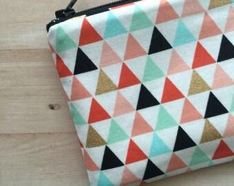 Triangles print small zipper pouch, change purse, coin purse