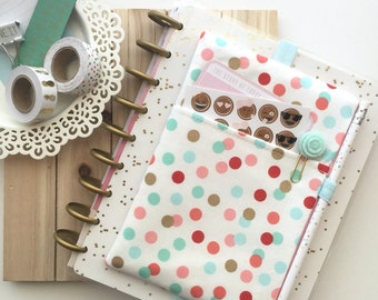 Polka Dot Print Pocket Planner Pouch, Planner Band - Fits Notebooks, Filofax, Erin Condren Life Planner, Happy Planner