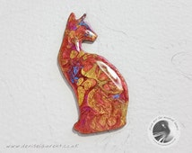 Red Gold and Pink Cat Brooch - Unique Kitty Pin