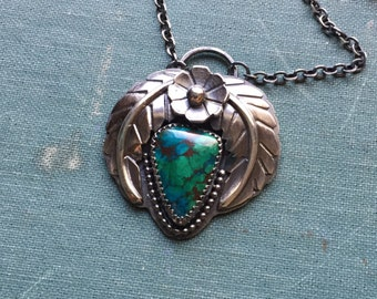 Bisbee Chrysocholla Pendant | Sterling Silver | Flower | Leaves | Feathers