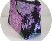 Purple Lavender peony flower makeup bag organizer pouch girlfriend gift for her for wife for women