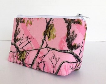 makeup bag, pink camo, realtree, zipper pouch, cosmetic bag, zipper bag, gift for her,