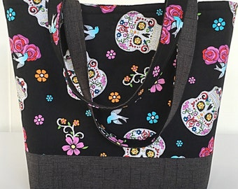 Sparkly sugar skulls large handbag tote bag tote purse 3 interior pockets gift for women her girlfriend  girl aunt  sister (221)
