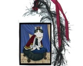 SALE King Cat Bookmark Prince Anakin Two Legged Cat Royal Cat Bookmarker Regal Fantasy Cat Art Mini Bookmark Cat Lovers Gift