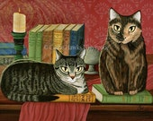 Library Cats Art Tabby Cat Tortoiseshell Cat Literary Cat Poe, Dickens, Stoker Classic Cat Art ACEO / ATC Mini Print Cat Lover Gift