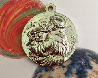 ST. ANTHONY MEDAL Vintage Silvered Patron Saint Lost Items & People