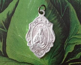 FANCY SCAPULAR MEDAL Vintage Religious Aluminum Jesus & Virgin Mary Italy