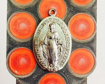 VINTAGE MIRACULOUS MEDAL Large Steel Virgin Mary