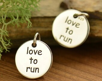 love to run sterling silver round charm or pendant. Running charm for fitness jewelry. Add to your necklace or bracelet.