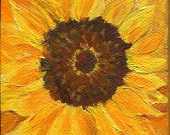 Sunflower mini canvas acrylic painting, original little painting,  3 x 3