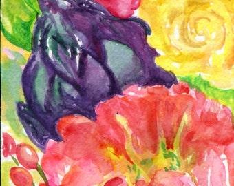 Peonies, artichoke, roses watercolor painting original 4 x 6  Pink, yellow flowers art, floral art, pink peonies,  watercolor floral