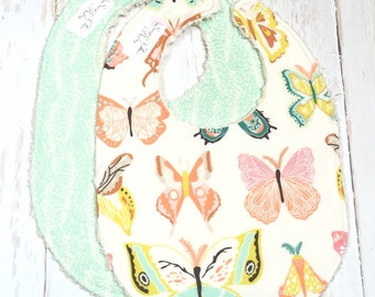 Baby Bibs for Baby Girl  - Set of 2 Triple Layer Chenille - Butterflies, Coral, Mint, Seafoam, Cream - BUTTERFLIES & VINES