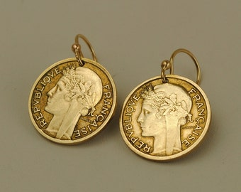 France Coin Earrings 1939 and 1941