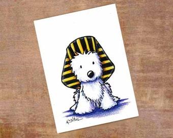 Westie Terrier Dog Art Original ACEO Pharaoh Drawing