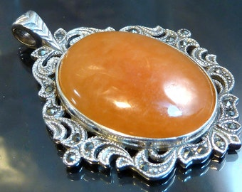 Big Victorian Peach Aventurine Pendant Sterling Silver Marcasite scrollwork necklace large oval cabochon steampunk