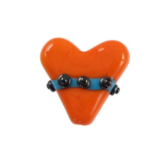 Nuts and Bolts - Glass Lampwork Mango Heart Bead