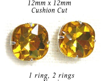 Golden Topaz Glass Beads, Cushion Cut, Octagon, Silver Plated Brass Settings, 12mm x 12mm, Rhinestone Jewels, Glass Gems, Cabochon, One Pair