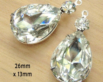 Crystal Glass Beads, Silver Plated Brass Settings, Pear or Teardrop, 26mm x 13mm, Glass Gems, Color Choice, Cabochon,  Rhinestone, One Pair