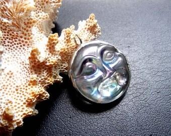 Celestial Moon Face Glass Jewel Pendant