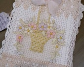 Vintage Lace Covered Blank Journal  With An Antique Embroidered Flower Basket 8 x 10 Size