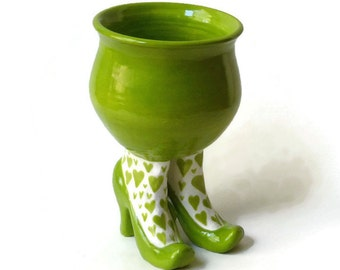 Ceramic Succulent Pot - Sex Pot with High Heels and Heart Stockings - Apple Green