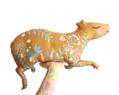 Capybara DIY KIT - White or Brown options - cushion softie plush floral - throw pillow - guinea pig homewares nursery decor illustration