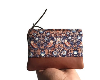 Strawberry Thief Leather Zipper Pouch, Floral Leather Coin Purse, Change Wallet, Coin Wallet, Small Leather Fabric Pouch, Handmade Pouch