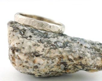 Love Rocks Wedding Ring - 3mm 14k Palladium White Gold Hammered Wedding Band - made to order wedding ring in recycled metal