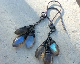 LABRADORITE earrings, Labradorite briolette earrings, blue flash, sterling silver handmade artisan jewelry, Angry Hair Jewelry