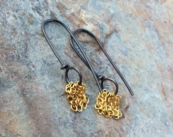 Mixed Metals chain earrings with 14k gold filled chain and sterling silver wire, Long