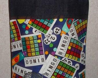 New Small Handmade Bingo Games Denim Tote Bag Purse