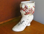 Whore hand painted vintage china boot shaped vase recycled humor bad girl decor floral display
