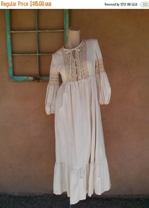 On sale vintage 1970s dress hippie wedding 70s maxi by for 1970s wedding dresses for sale