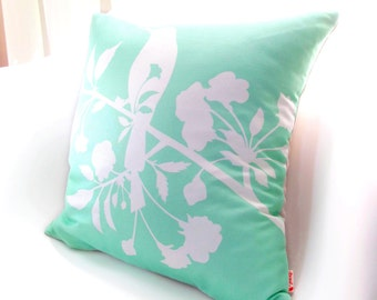 White  and Mint Green Blooming Blossom 16 inches Square Linen Pillow