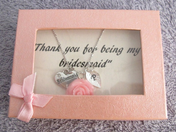 Personalized Bridesmaid Necklace with Rose Flower Hand Stamped Initial Children's Personalized Jr. Bridesmaid Necklace Free Shipping In USA