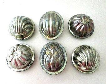 6 English 2 Part Food Pudding Tin Molds - Primitive Farmhouse Decor