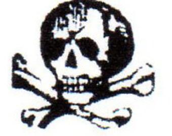 Skull & Crossbones Red Rubber Stamp-TINY-Original design 03105, halloween rubber stamp, pirate rubber stamp, planner stamp