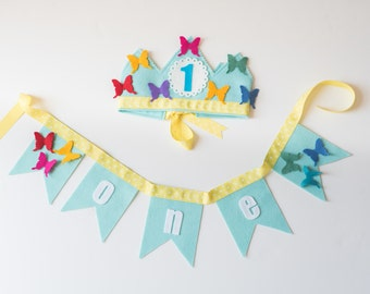 PARTY PACK Rainbow Butterfly Birthday Crown & Bunting - Rainbow Birthday - Felt Birthday Crown for Girls- Smash Cake- Photo Prop
