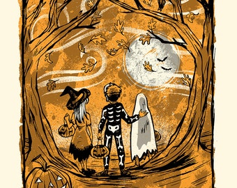 Halloween Spirit - Screenprinted Art Print