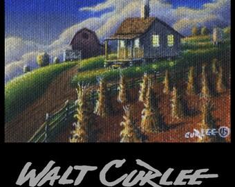 Artist Trading Card, ATC, Original ACEO Picture, Rural Farm house Evening Landscape Oil Painting, Folk Art Americana, Appalachian