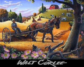 Rustic Home Decor, Folk Art Farm Art, Raking Hay Field, Hay Raker, Americana Amish Decor Landscape Giclee Print, Appalachian Decor