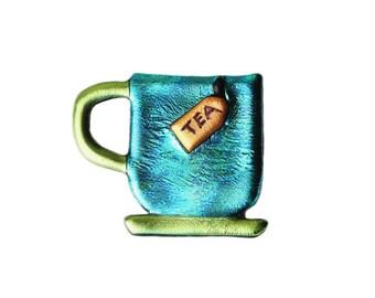 Tea for Two, Tea Lovers Jewelry, Teacup Pin, Teacup Jewelry, Tea Pin