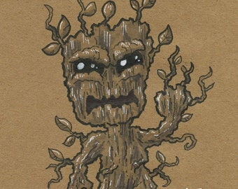 Scared 5x7 Drawing - Groot
