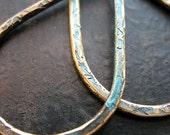 Hammered Brass Teardrop Links in Aqua Shimmer Chestnut - 1 pair