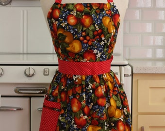 Retro Apron Mixed Fruits on Black CHLOE