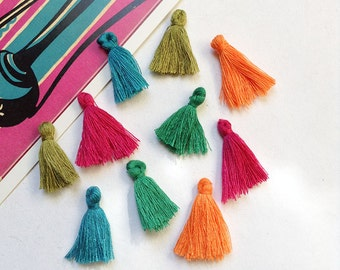 10 mini cotton tassels 25mm Bohemian Moroccan / Indian style mix orange, fuchsia, turquoise, olive, jade #30b