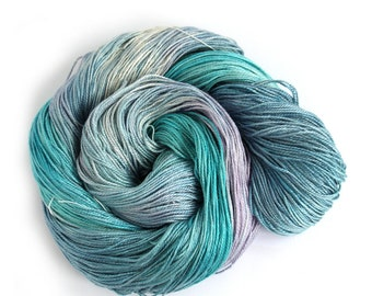 Handdyed silk seacell yarn, 4ply variegated skein, luxury blue purple fingering knitting crochet yarn, Perran Yarns Moonscape, uk seller