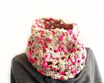 Chunky crochet cowl, bulky circle scarf, acrylic wool blend tube neckwarmer, neon cream loop scarf, uk seller, choose your colour