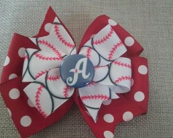 Reno Aces Baseball Stacked Ribbon Hair Bow - Red Dot (1018)
